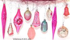 CHRISTBAUMSCHMUCK Konvolut-11Stck alte farbige Glasornamente-Glocke,Zapfen, #14