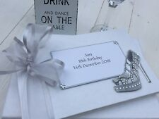 Birthday Guest Book Gift 18th 21st 30th 40th 50th 60th Shoe Silver Personalised
