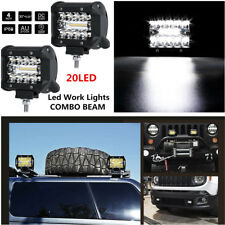 2x 4'' 60W 20-LED CREE Work Fog Light Bars Offroad SPOT FLOOD Work Driving Lamp