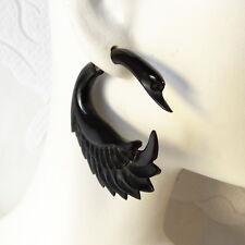 Pair of Black Swan Fake Gauge Earrings Black Cow Horn Goth Jewelry Faux Plugs