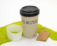 Design@Home Travel Mug Bamboo Coffee to Go Mug Bambus&Silikon Lieblingsmensch