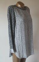 Blouse Shirt LK Bennett Lindley UK 12 100% Silk Long Sleeve Abstact Animal Print