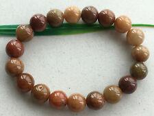 Certified 100% Brown red  natural A-grade jade Jadeite 10mm elastic bracelet 403