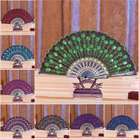Peacock Pattern Folding Hand Fan Gift Chinese Japanese Style Wedding Party Dance