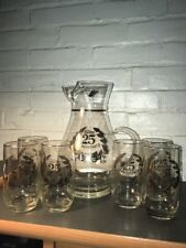 VINTAGE WEST VIRGINIA GLASS 25TH SILVER ANNIVERSARY  PITCHER AND SIX GLASSES USA