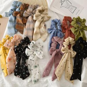 Women Boho Print Ribbon Bow Hair Scrunchies Rope Ring Elastic Rubber Band Scarf