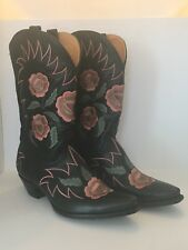 Vintage Rare Leather Flower Floral Embroidered Cowboy Boots