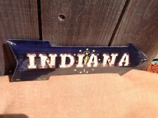 """Indiana State Flag This Way To Arrow Sign Directional Novelty Metal 17"""" x 5"""""""