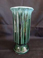 "Vintage Hull Pottery ~ Stunning Green Drip Column Vase ~ A57 ~ 9"""