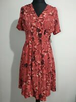 Pearl Lowe for Peacocks Coral Peach Floral Tea Dress size 10 Fit Flare Cottagcor
