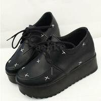 New Women Ladies Lace up Top Thick Punk Goth Platform Flat Wedge Creepers Shoes