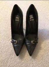 Nuevo Auténtico Burberry Mujer Charol Negro Zapatillas de Cuadros 36.5 6