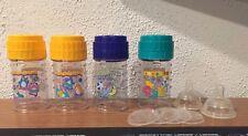 4 vintage Playtex Nurser Drop In baby bottles decorated 4 oz yellow blue green