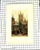 Original Old Vintage Print C1850-C1930 Colour View Canterbury Cathedral 19th