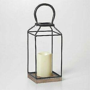 "Smart Living 11"" Claudia Metal Outdoor Lantern with Base - Black/Bronze"