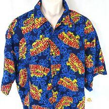 Hawaiian Tropic Camp Shirt Casual Men Size XXL Blue Red Button Up Short Sleeve