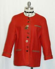 RED ~ LINEN Women ITALY Summer Casual Church Dress Suit Over Coat JACKET 10 12 M