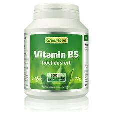 Greenfood Vitamin B5, 500mg, hochdosiert, 120 Kapseln - vegan