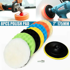"8PCS 7"" Car Polishing Waxing Buffing Pad Kit Compound Sponge Foam +Drill Adapter"