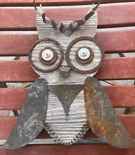 Wooden Owl Decor Art Steampunk Scrapmetal Sculpture Wall Hanging 11 1/4""