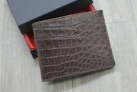 Brown Genuine Crocodile Alligator Leather Skin Wallet Men's Bifold