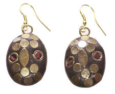 Charismaticly Chic Gold Circle Leaf Pattern/red Stone Spec Oval Earrings(Ns9)
