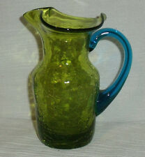 """Art Glass Pitcher Small 4.5"""" Green Blue Crackle Hand Blown Vtg"""