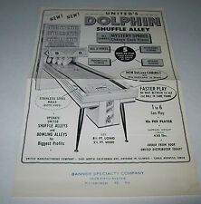 Dolphin By United Original Shuffle Alley Bowing Game Sales Flyer Brochure 1961
