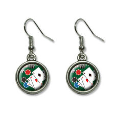 Poker Aces - Cards Chips Gambling - Novelty Dangling Drop Charm Earrings