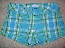 Abercrombie & Fitch Women Shorts Sz 0 W/ Belt Blue Green Plaid AF AFITCH Summer