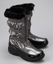 New Totes Kids Silver / Black Sylvia Metallic Winter Boots Shoes Girls-12 Youth