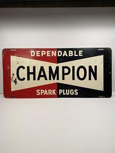 Vintage Champion Spark Plug Sign 1940 - 1950's. Man Cave / Garage Art Must Have