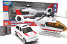 Emergency Vehicles Toy Model Playset with Light Sound Helicopter Car