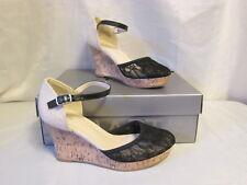 Apt 9 Mimosa Black Lace Platform Cork Wedge High Heels Sandals Shoes NIB