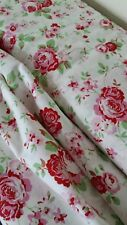 Cath Kidston 1.5M ROSALI 100% Cotton Fabric Material *150cm wide* WHITE ROSE new