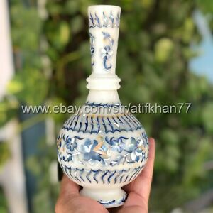 Living Room Table Centerpiece Blue Flower Bud Vase Marble Inlay Pietra Dura Art