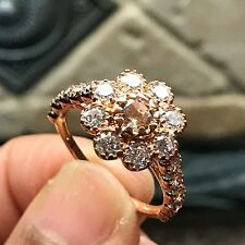 Natural Pink Morganite, Accent Stone 14k Rose Gold Over Sterling Silver Ring 6