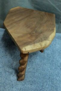 HAND MADE SOLID WALNUT 3 LEG STAND 16.5 inches tall 19 by 15 across the top