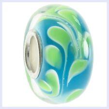 Green Blue Swirl Glass Bead w/ Sterling Silver Core for European Charm Bracelet