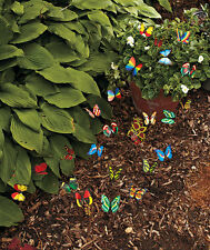 New-Set of 24 Garden Yard Planter Colorful Whimsical Butterfly Stakes