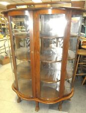 Four Curved Glass Claw Footed Oak China Cabinet, All Responsibility f. Lot 150