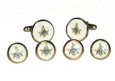 NEW Mens Gold Blue Lodge Masonic Mother of Pearl CuffLinks Studs Mason MOP