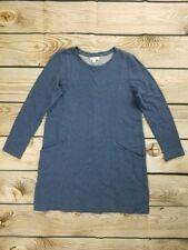 J Jill Womens Petite Medium Blue Long Sleeve Cotton Dress With Pockets