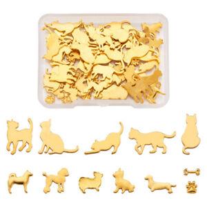 60pcs Mixed Golden Flatback Alloy Cabochons Mini Metal Charms Carfting 5.5~17mm