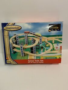 TOYS R US / IMAGINARIUM WOODEN SPIRAL TRAIN TRACK SET w/ RISERS 56 Pieces