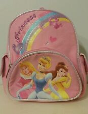 "Disney Princess 9x8"" Pink Backpack Bookbag School Bag Aurora Cinderella Belle"