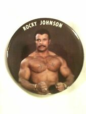 Rocky Johnson WWF Color Photo Button World Wrestling Star WWE Pinback The Rock