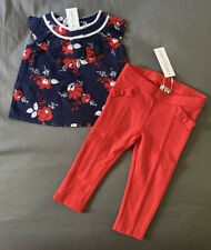 Baby Girl 12-18 Month Janie and Jack Navy Floral Print Top & Red Pull On Pants