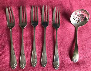 Vintage EPNS Pastry Cake Forks and Pierced Sugar Sifter
