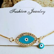 Evil Eye Charm Bracelet Enamel Turkish Jewelry Charms Blue Free Shipping USA